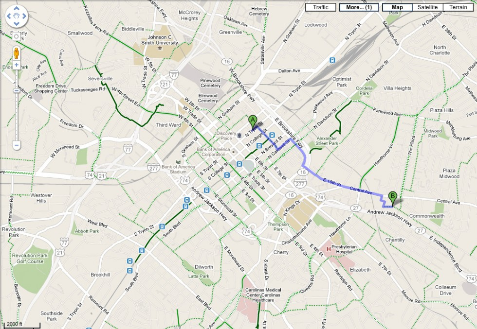 Google Maps adds bicycling directions in Charlotte | CLT Blog