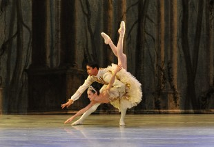 Addul Manzano (Prince Florimund) and Alessandra Ball (Princess Aurora) practice for Sleeping Beauty. (AP Photo: Peter Zay)