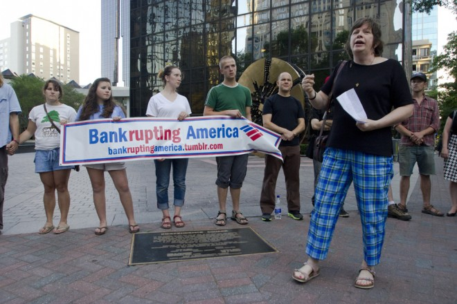 The preparation stage for the Bank Of America shareholders meeting protest was officially kicked-off with an Interfaith Vigil at Trade and Tryon late Monday evening. 5/6/2012