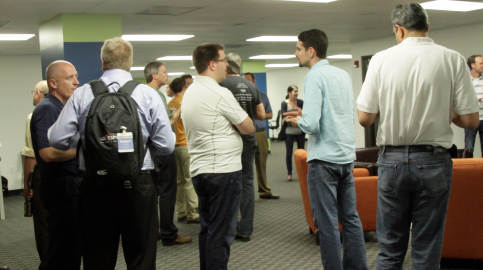 A crowd gathers at the launch of RevTech Labs @ Packard Place on May 31, 2012