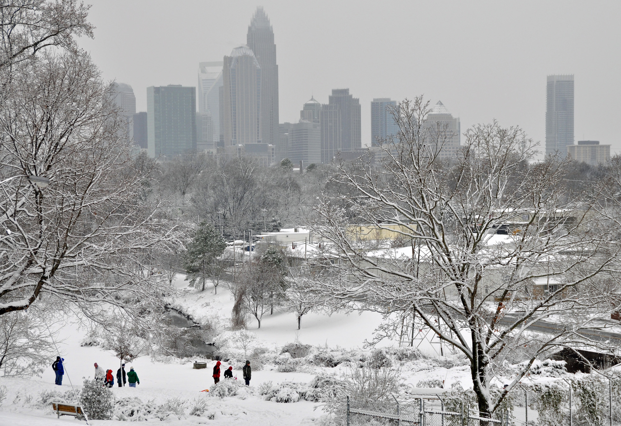 Snow in Charlotte the day after Christmas